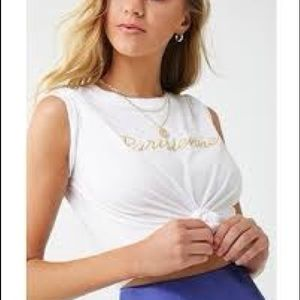 Forever21 embroidered Parisienne Tee M